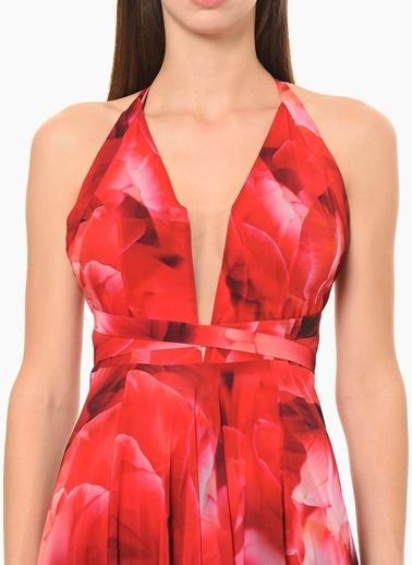 NetWork Çiçekli Uzun Abiye Elbise Kırmızı